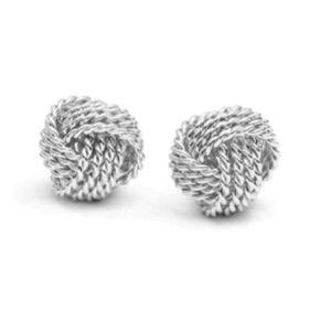 Stud knot earrings in silver